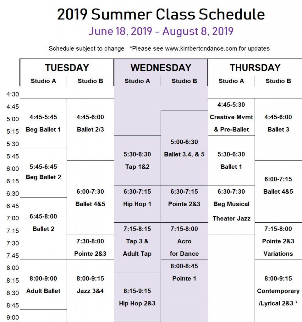 Summer 2019 Course Schedule Summer Programs 2019